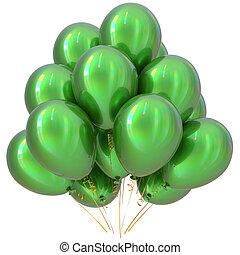 Balloons green happy birthday party decoration glossy