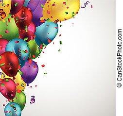 balloons., háttér, ünnepel