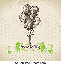 Balloons. Happy Birthday hand drawn  illustration