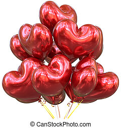 Balloons happy birthday party decoration heart shaped red glossy