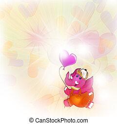 Balloons, heart, elephant