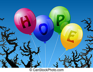 Four balloons, which are labeled with the word HOPE, are threatened by thorns.