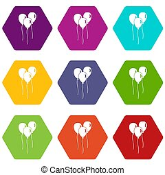 Balloons icon set color hexahedron