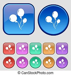 Balloons icon sign. A set of twelve vintage buttons for your design. Vector