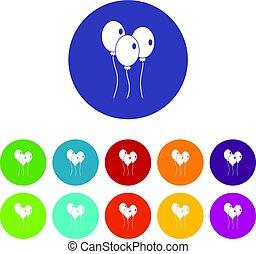 Balloons icons set flat vector