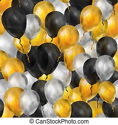 Balloons in gold, silver and black colours, seamless pattern