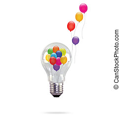 Balloons in light bulb