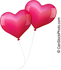 Illustration of two realistic looking pink balloons, which seem to fall in love.