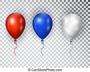 Balloons in national colors of the american flag isolated on transparent background. USA greeting design element. Vector elements for national holiday backgrounds or birthday party