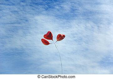 balloons in sky - heart like baloons in sky