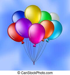 Balloons in the blue sky - Vector cartoon, bunch of various...