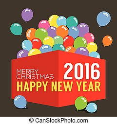 Balloons In The Box 2016 New Year Vector Illustration