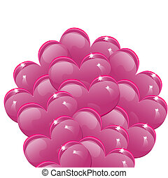 Balloons in the shape of pink heart