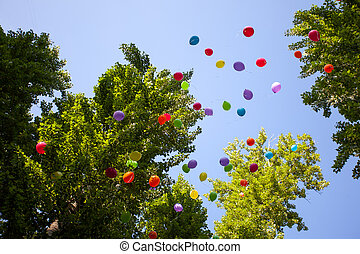 Balloons in the summer Park festival in a Sunny day