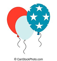 Balloons in the USA flag colors icon in flat style isolated...
