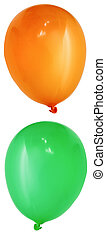 balloons - isolated orange and green balloon (high res)