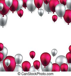 balloons., keret, háttér, ünnepel