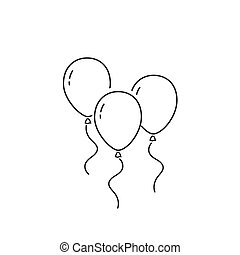 Balloons line icon isolated on white background. Vector