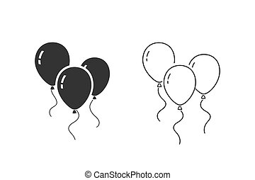 Balloons line icon set isolated on white background. Vector
