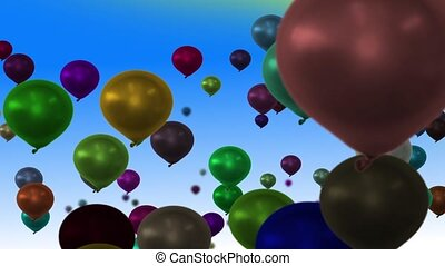 Balloons loop - Cheerful background with flying balloons, in...