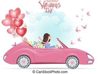balloons., mulher, car, moda, feliz, jovem, vermelho, presentes