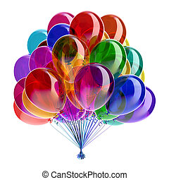 Balloons multicolored birthday party glossy decoration festive