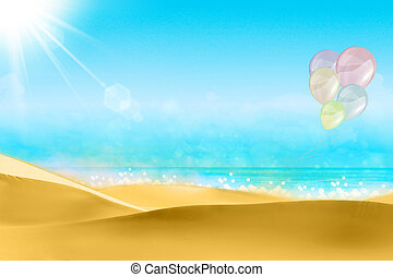 Balloons on a beach blue sky.