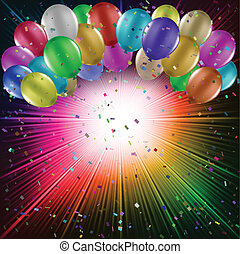 Balloons on a starburst background - Balloons on a colourful...
