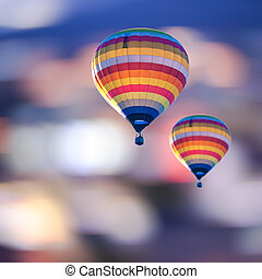 Balloons on Abstract light blur bokeh background