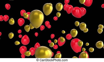 Balloons on black background