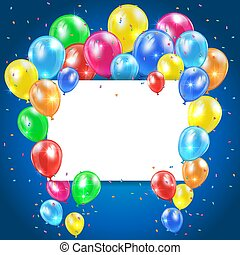 Balloons on blue background with card