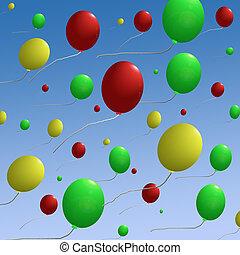 Balloons on Blue Sky