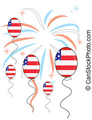Balloons on firework background for independence day