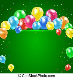 Balloons on green background