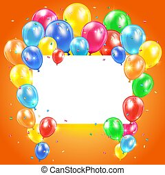 Balloons on orange background with card