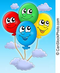Balloons on sky - Color illustration of four colorful ...