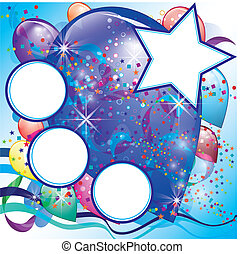 Balloons party card for Boy with White space