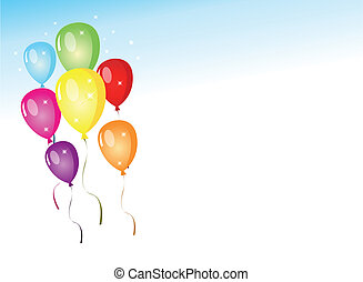Colorful balloons on an elegant gradient blue sky background for party.