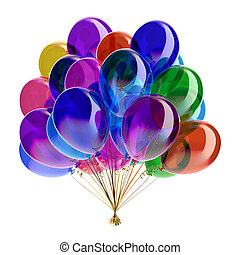 Balloons party colorful glossy. Birthday decoration multicolored