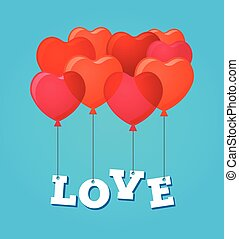 Balloons party happy birthday and Valentine's day card