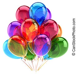 Balloons party happy birthday decoration multicolored glossy