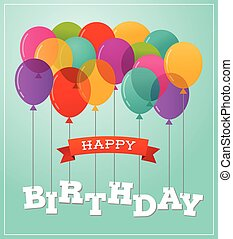 Balloons party happy birthday greeting card