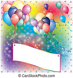 Balloons Party Invitation card with falling board