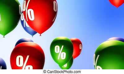 Balloons with percents symbols. Seamless loop background. Soft depth of field.