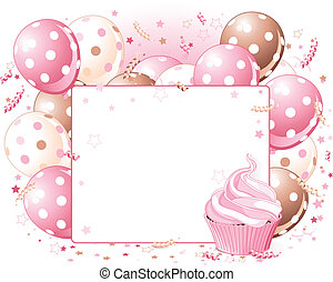 Balloons place card - Illustration of blank place card with...
