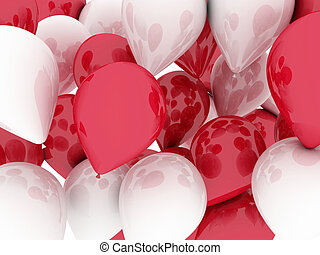 Balloons red and white. 3d imagen, holidays concept
