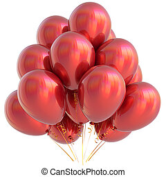Balloons red happy birthday party decoration scarlet glossy