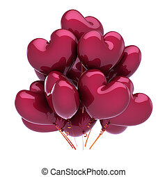 Balloons red heart shaped party birthday LOVE decoration