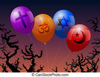 Four balloons, which are labeled with the signs of Christianity, Hinduism, Judaism and Islam. They are threatened by thorns.