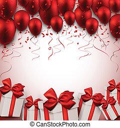 balloons., rode achtergrond, vieren